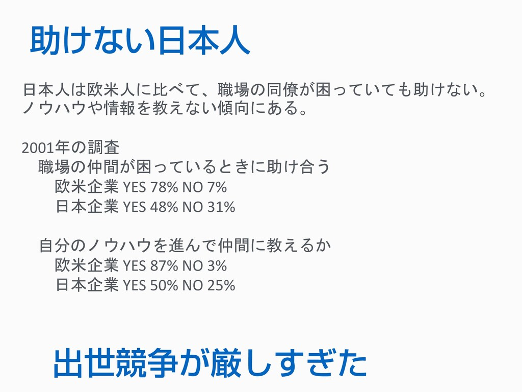 助けない日本人 日本人は欧米人に比べて、職場の同僚が困っていても助けない。 ノウハウや情報を教...
