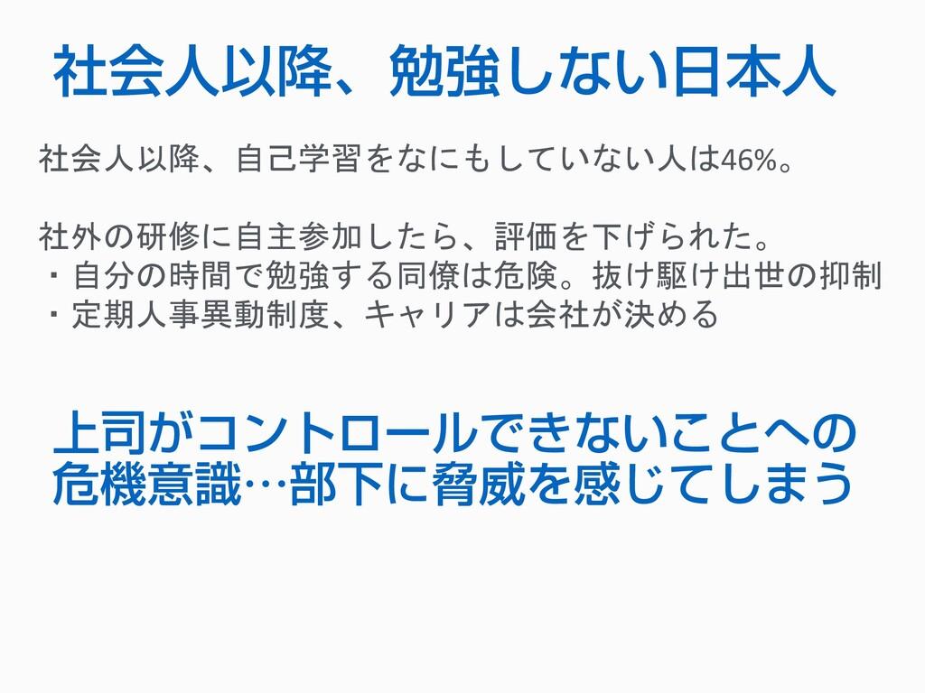 社会人以降、勉強しない日本人 社会人以降、自己学習をなにもしていない人は46%。 社外の研修に...