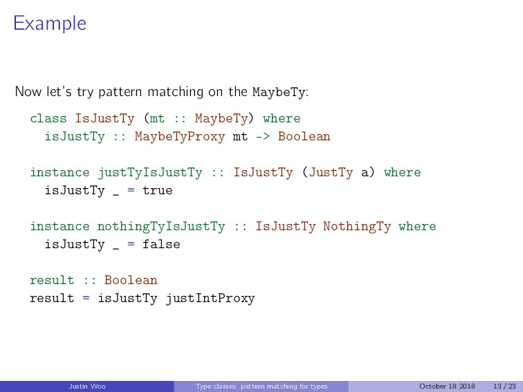 Example Now let's try pattern matching on the M...