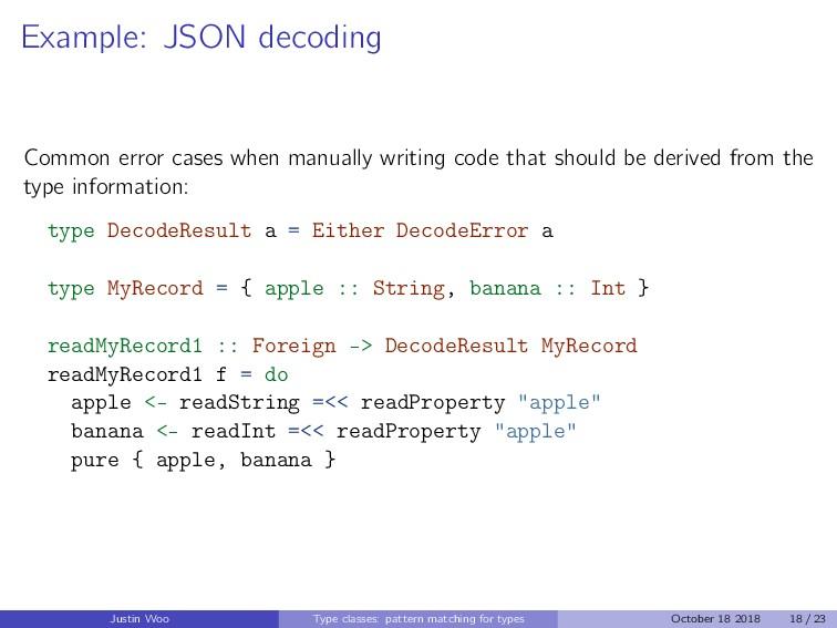 Example: JSON decoding Common error cases when ...