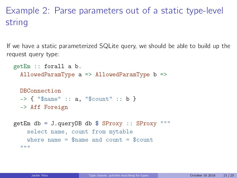 Example 2: Parse parameters out of a static typ...