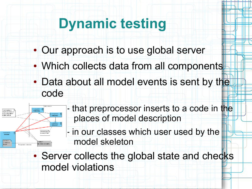 Dynamic testing ● Our approach is to use global...