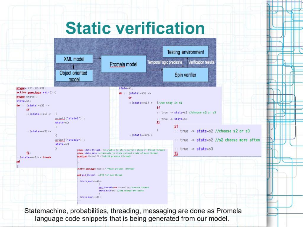 Static verification Statemachine, probabilities...