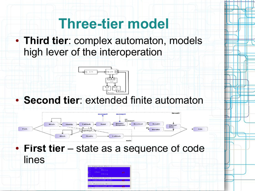 Three-tier model ● Third tier: complex automato...