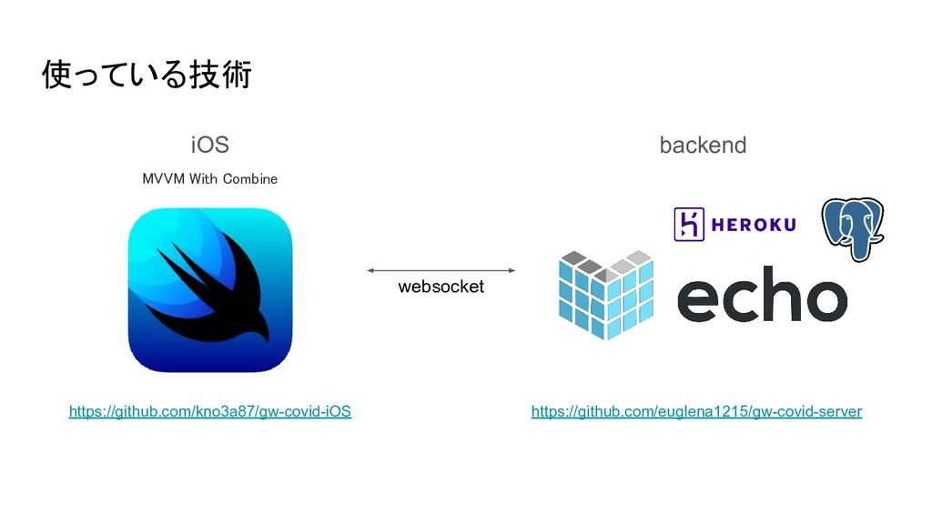 使っている技術 backend iOS websocket https://github.co...