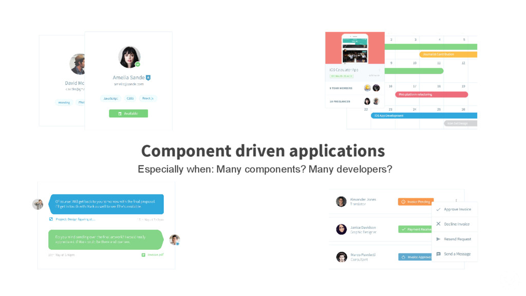 Component driven applications Especially when: ...