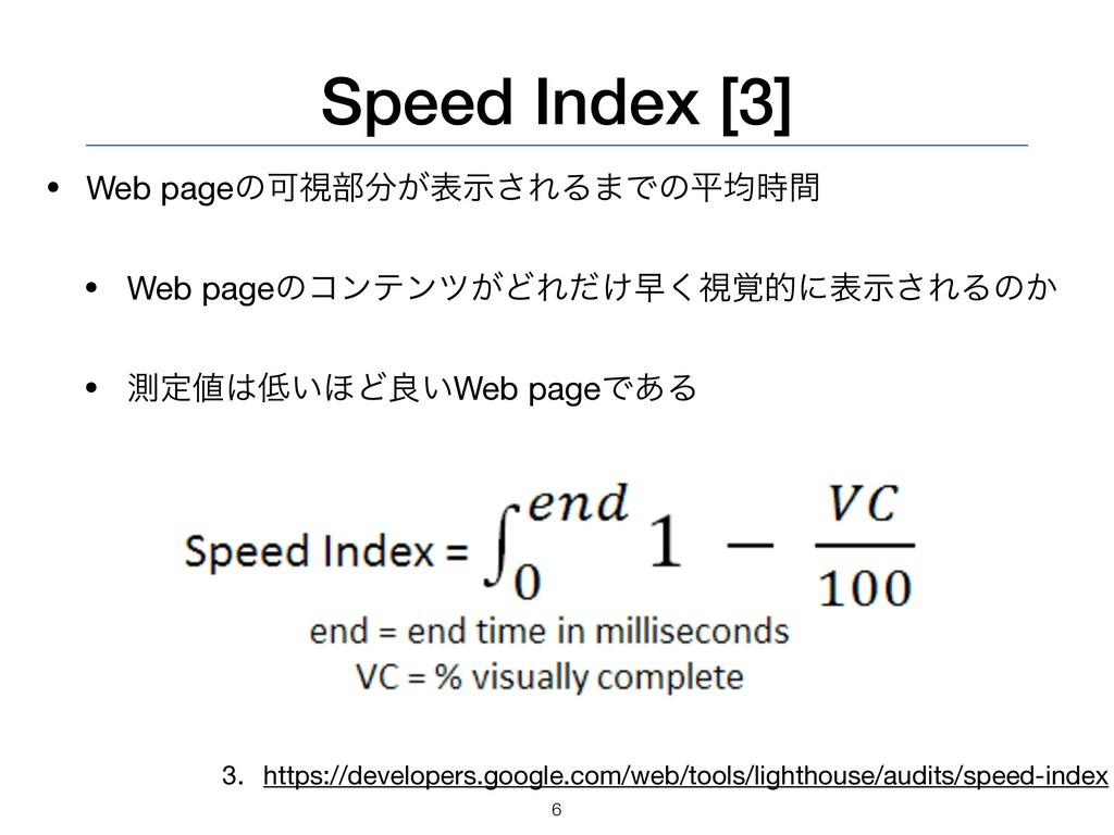 Speed Index [3] • Web pageͷՄࢹ෦͕දࣔ͞ΕΔ·Ͱͷฏۉؒ  •...