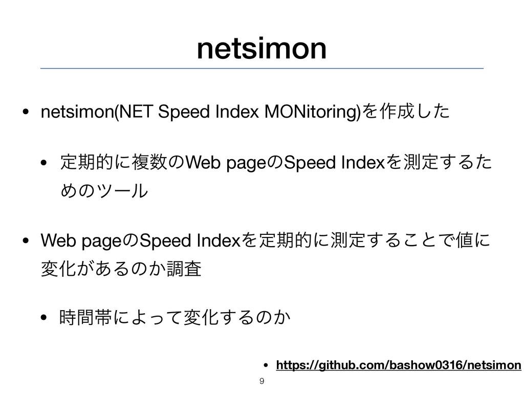 netsimon • netsimon(NET Speed Index MONitoring)...