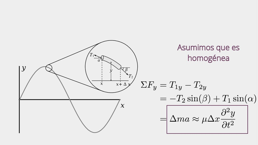 x y T1 T2 x x+ Δ x α β y Asumimos que es homogé...