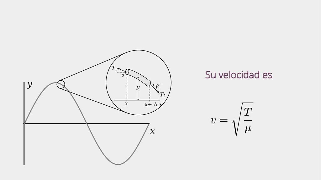 x y T1 T2 x x+ Δ x α β y Su velocidad es