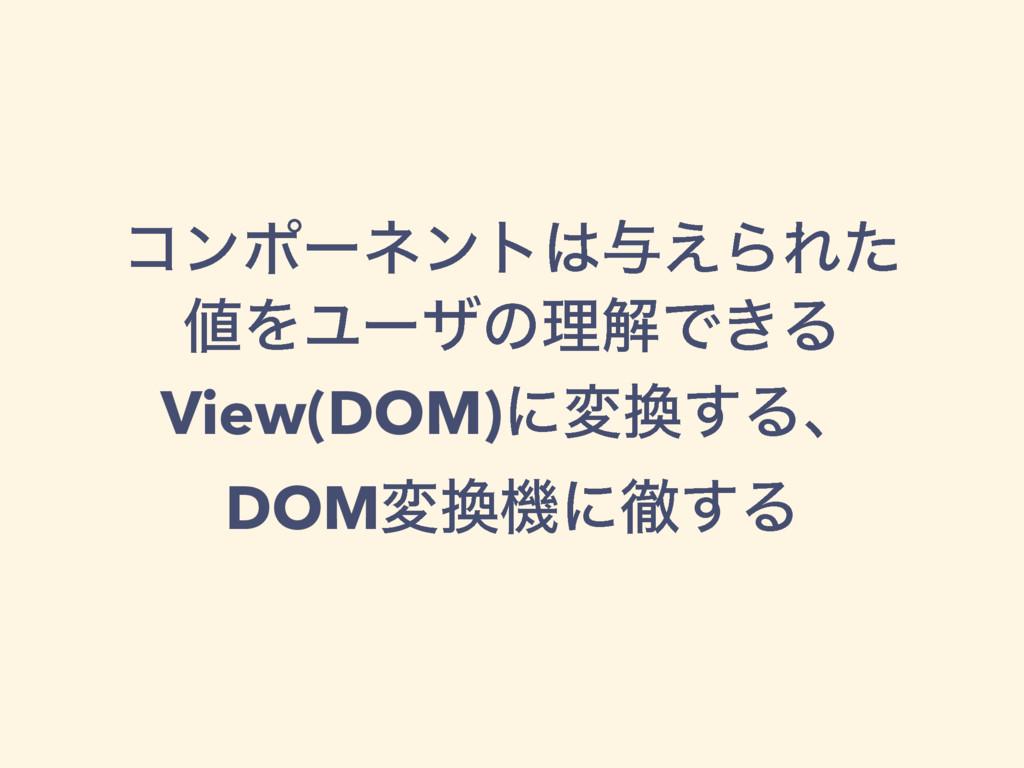 ίϯϙʔωϯτ༩͑ΒΕͨ ΛϢʔβͷཧղͰ͖Δ View(DOM)ʹม͢Δɺ DOMม...