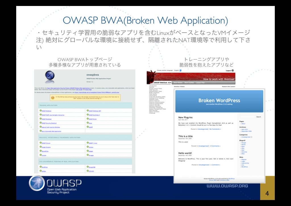 OWASP BWA(Broken Web Application) 4 ɾηΩϡϦςΟֶश༻ͷ...