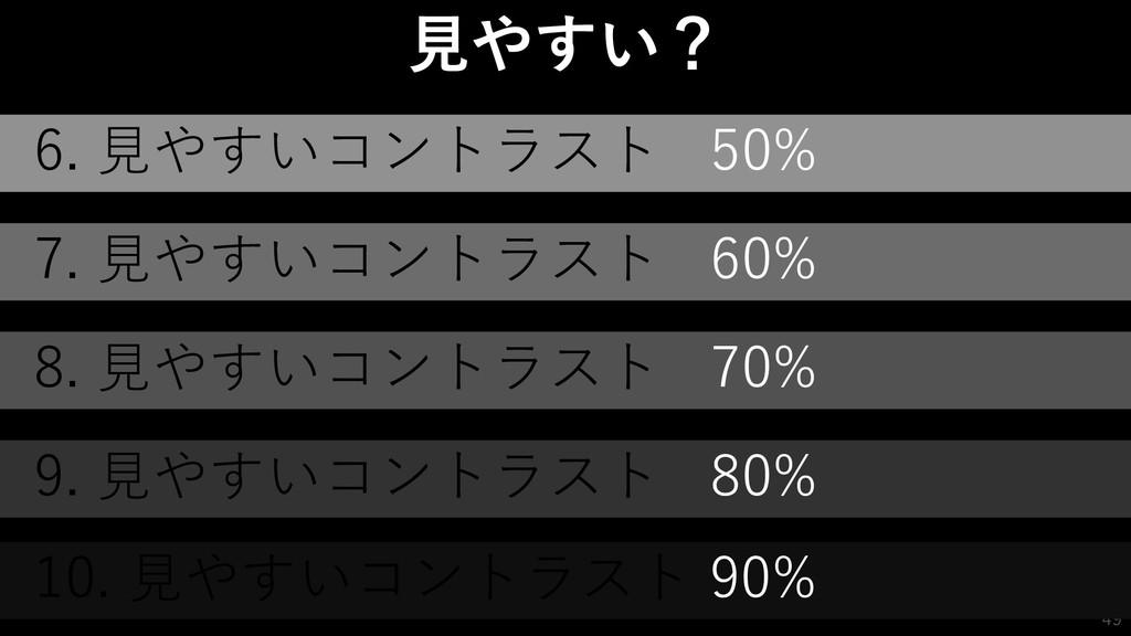 49 49 見やすい? 6. 見やすいコントラスト 50% 7. 見やすいコントラスト 60%...