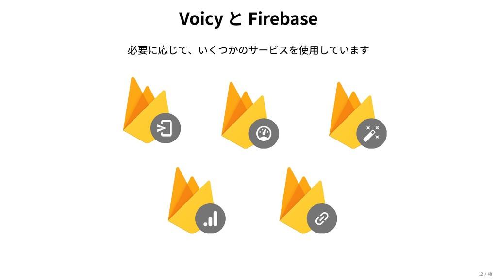 VoicyとFirebase 必要に応じて、いくつかのサービスを使用しています 12/48