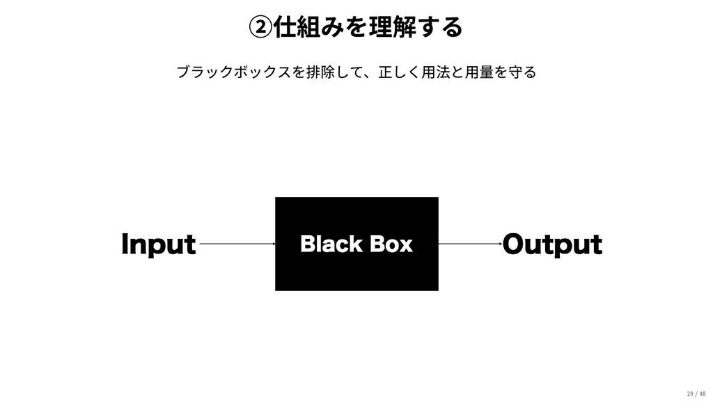 ②仕組みを理解する ブラックボックスを排除して、正しく用法と用量を守る 29/48