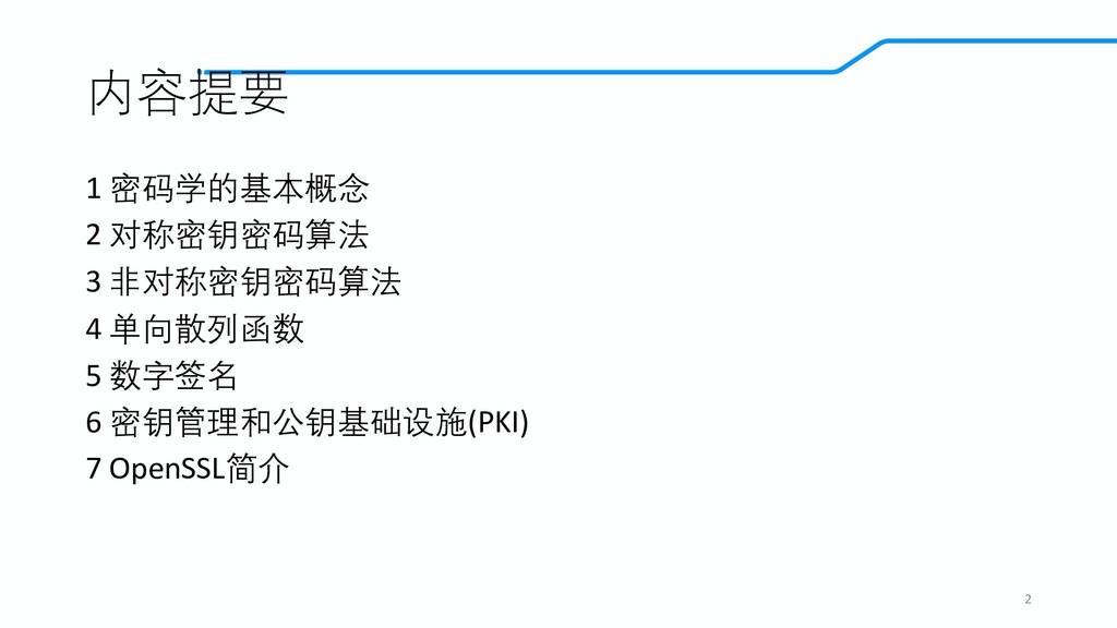 内容提要 1 密码学的基本概念 2 对称密钥密码算法 3 非对称密钥密码算法 4 单向散列函数...