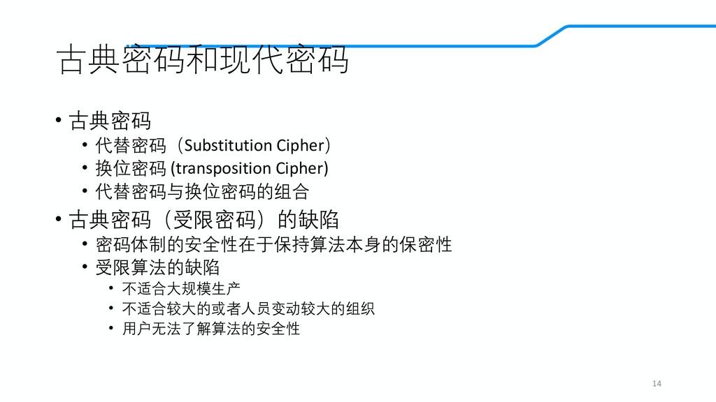 古典密码和现代密码 • 古典密码 • 代替密码(Substitution Cipher) • ...
