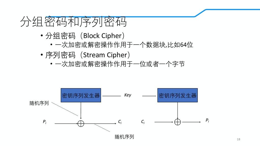 分组密码和序列密码 • 分组密码(Block Cipher) • 一次加密或解密操作作用于一个...