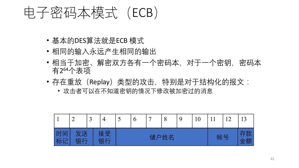 电子密码本模式(ECB) • 基本的DES算法就是ECB 模式 • 相同的输入永远产生相同的输...