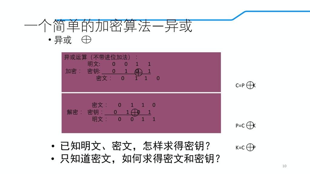 一个简单的加密算法—异或 • 异或 10 密文: 0 1 1 0 解密: 密钥: 0 1 0 ...