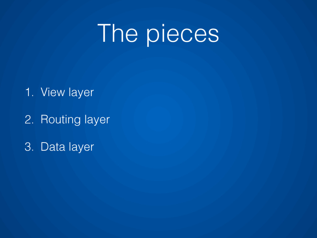 1. View layer 2. Routing layer 3. Data layer Th...