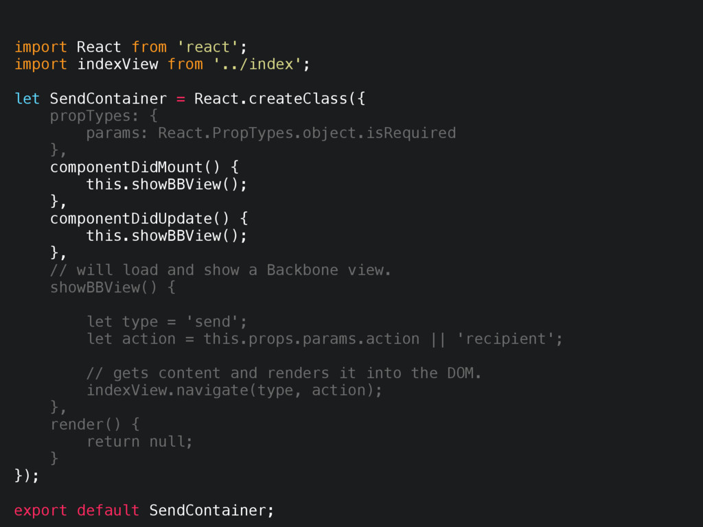 import React from 'react'; import indexView fro...