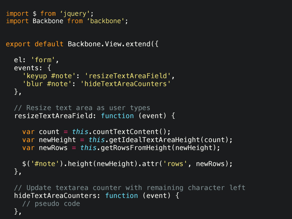 import $ from 'jquery'; import Backbone from 'b...