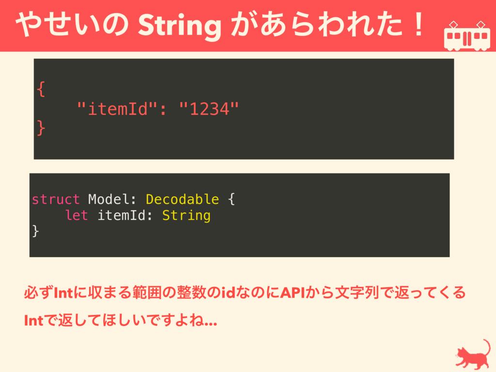 "͍ͤͷ String ͕͋ΒΘΕͨʂ  { ""itemId"": ""1234"" } stru..."