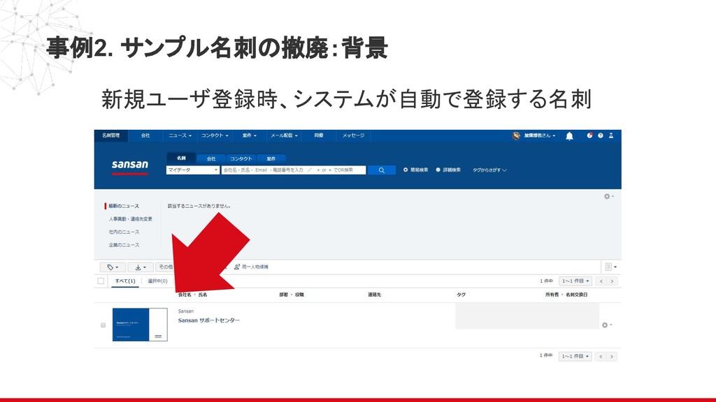 事例2. サンプル名刺の撤廃:背景 新規ユーザ登録時、システムが自動で登録する名刺