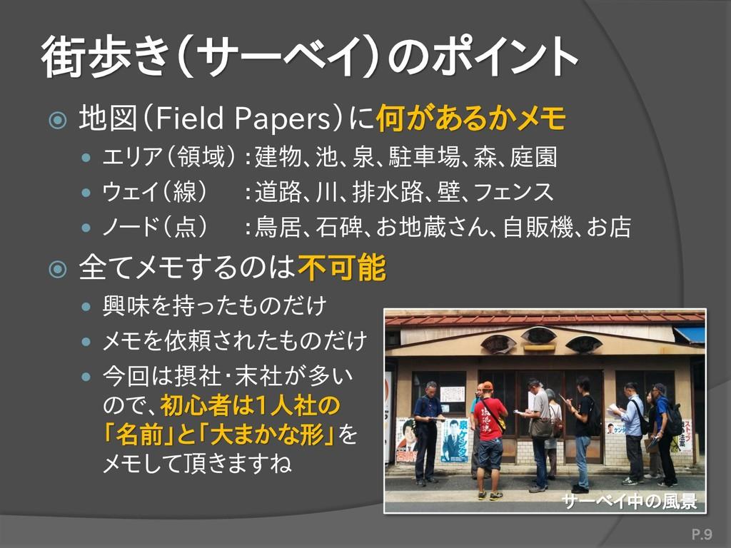 街歩き(サーベイ)のポイント  地図(Field Papers)に何があるかメモ  エリア...