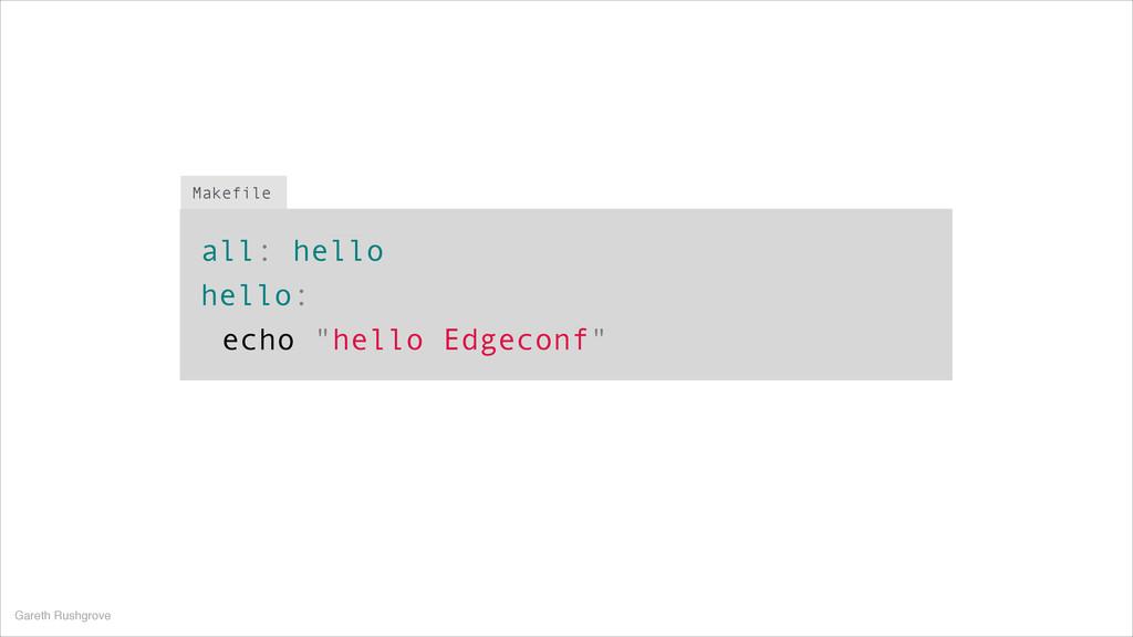 """all: hello hello: echo """"hello Edgeconf"""" Makefil..."""