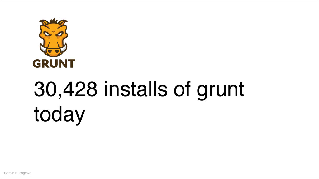Gareth Rushgrove 30,428 installs of grunt today
