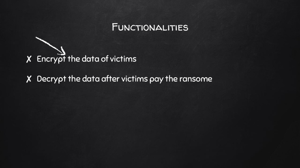 Functionalities ✘ Encrypt the data of victims ✘...