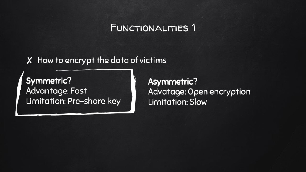 Functionalities 1 ✘ How to encrypt the data of ...
