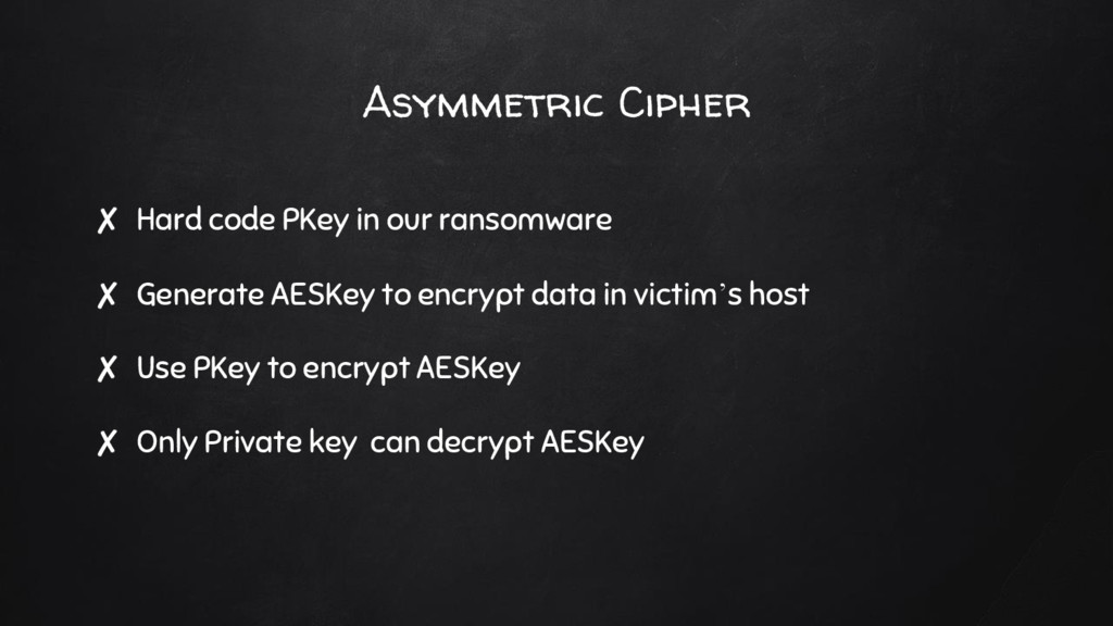 ✘ Hard code PKey in our ransomware ✘ Generate A...