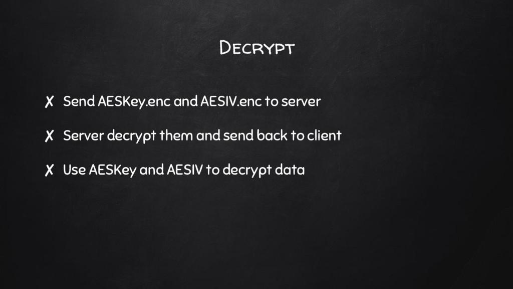 ✘ Send AESKey.enc and AESIV.enc to server ✘ Ser...