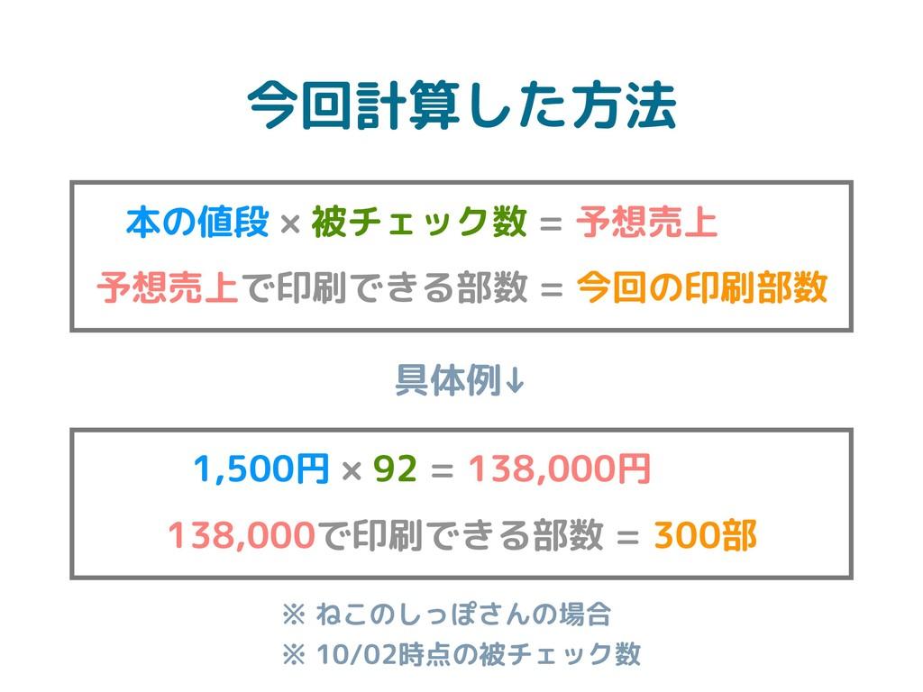 今回計算した方法 本の値段 × 被チェック数 = 予想売上 予想売上で印刷できる部数 = 今回...