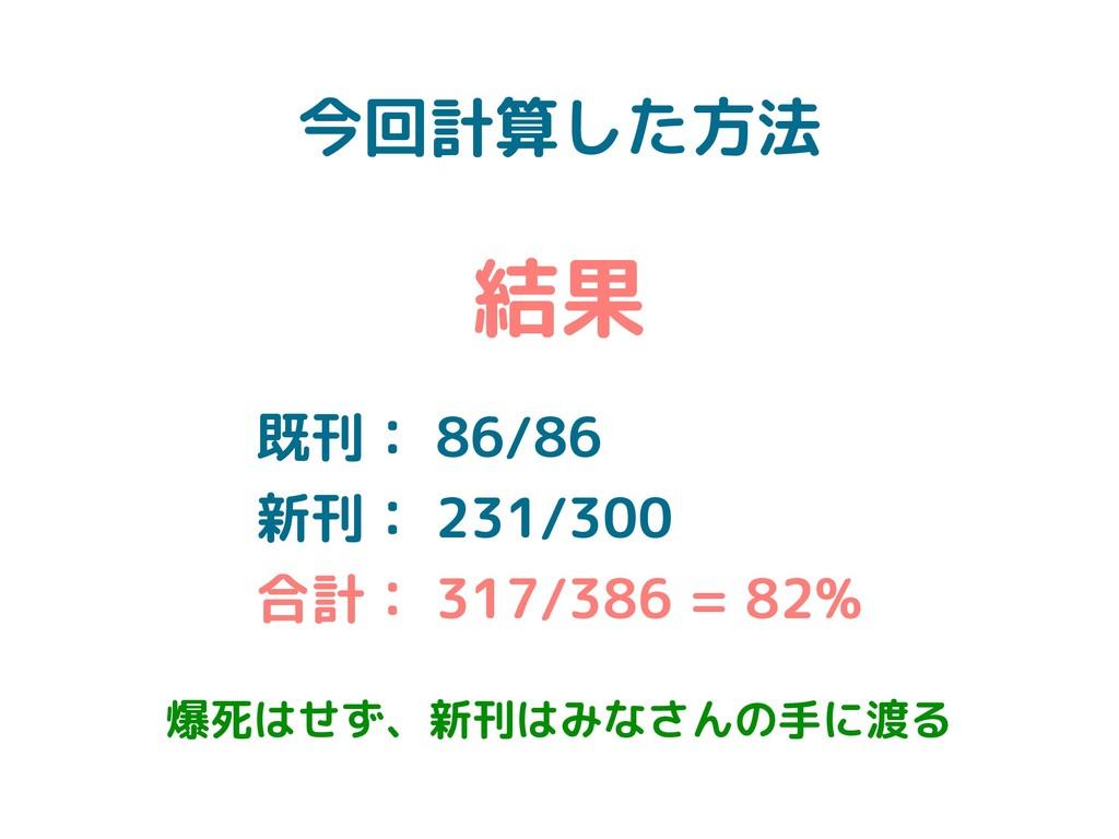 今回計算した方法 結果 既刊: 86/86 新刊: 231/300 合計: 317/386 =...