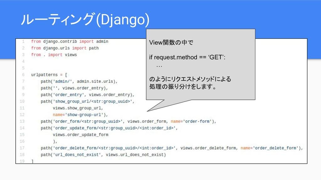 ルーティング(Django) View関数の中で if request.method == '...