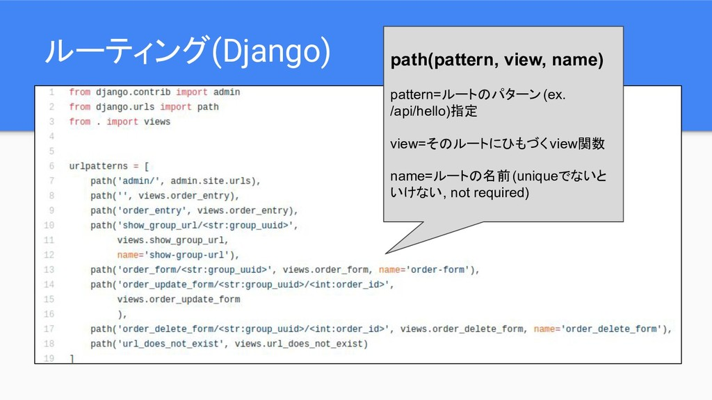 ルーティング(Django) path(pattern, view, name) patter...