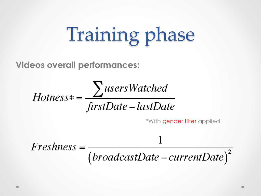 Training phase Videos overall performances: *Wi...