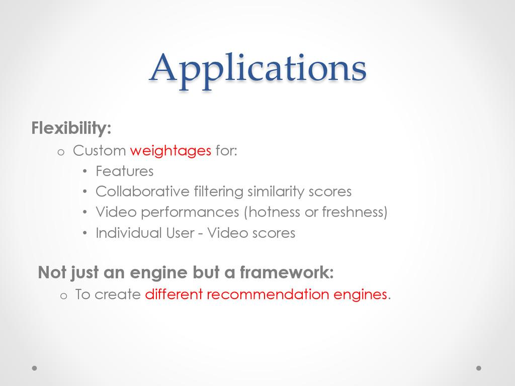 Applications Flexibility: o Custom weightages ...