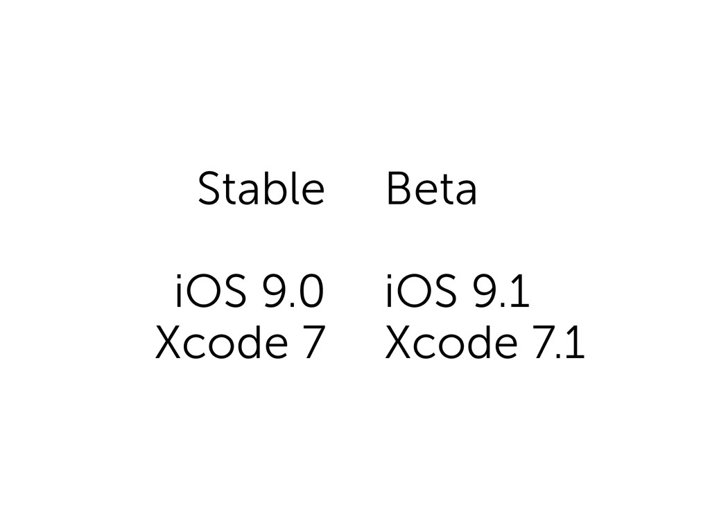 Stable iOS 9.0 Xcode 7 Beta iOS 9.1 Xcode 7.1