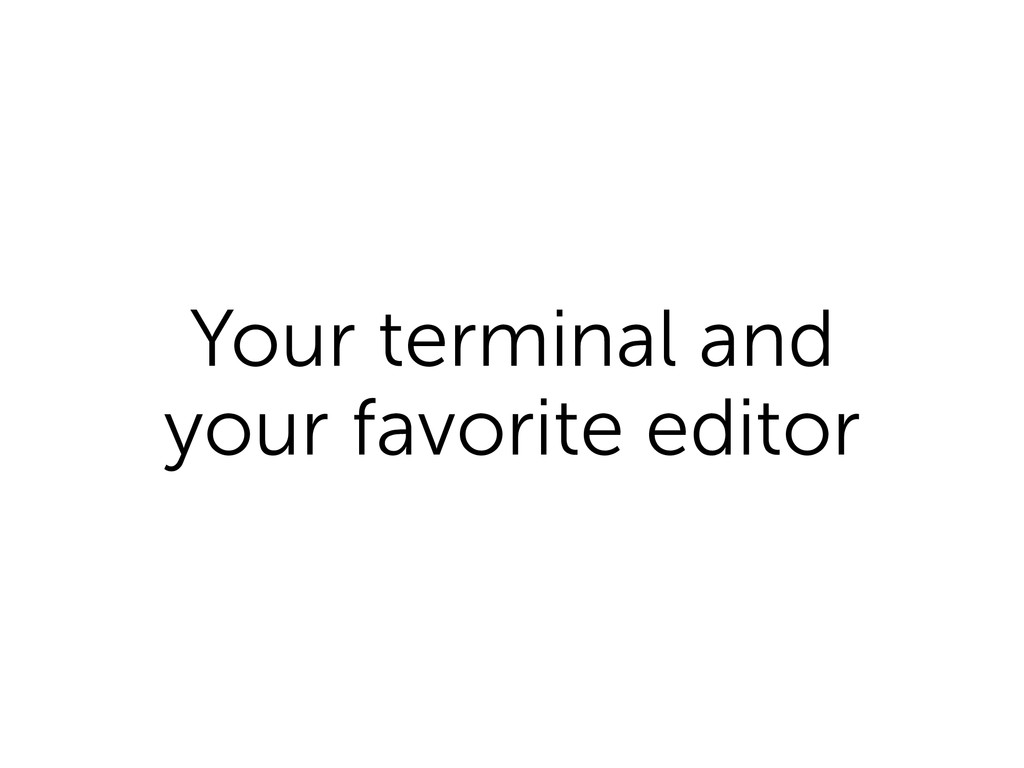 Your terminal and your favorite editor
