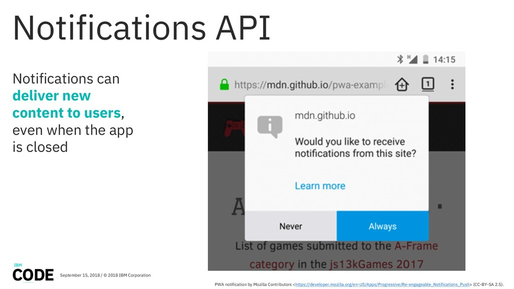 Notifications API Notifications can deliver new...