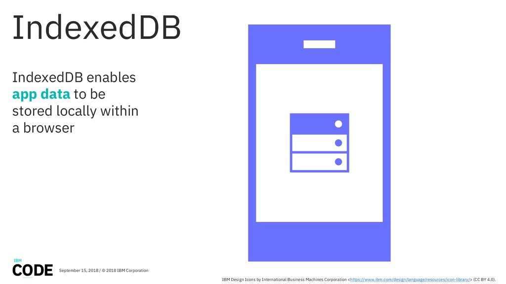 IndexedDB IndexedDB enables app data to be stor...