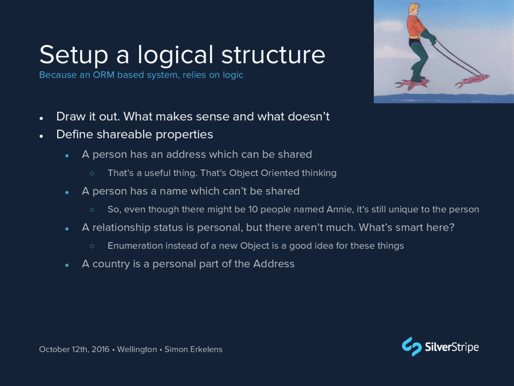 Setup a logical structure Because an ORM based ...