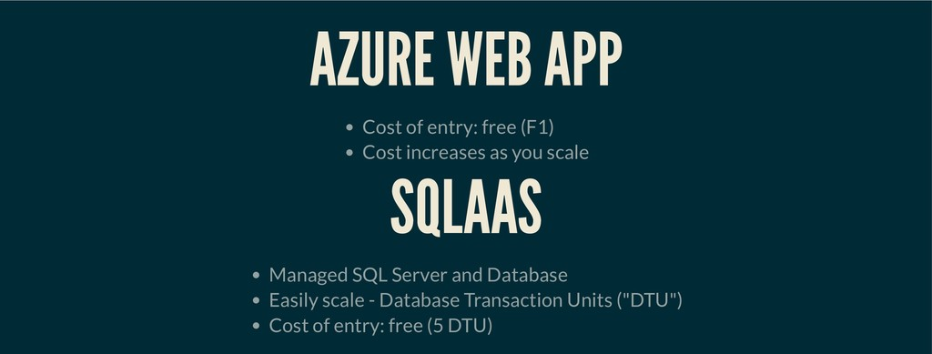 AZURE WEB APP AZURE WEB APP Cost of entry: free...