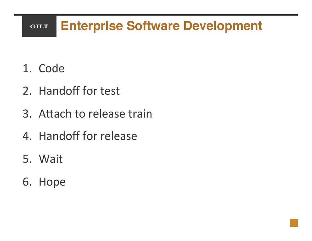 Enterprise Software Development! 1.  Code$ 2.  ...