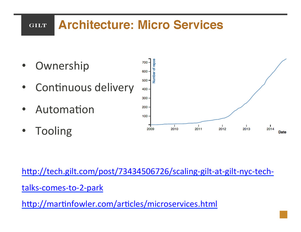 Architecture: Micro Services! •  Ownership$ •  ...